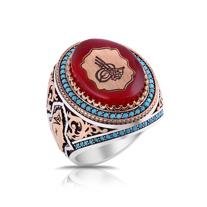 GYZ8153 Kehribar Osmanlı Tuğrası 925 Ayar Gümüş Erkek Yüzük